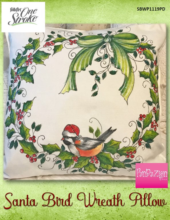 PenDezign Santa Bird Wreath Pillow