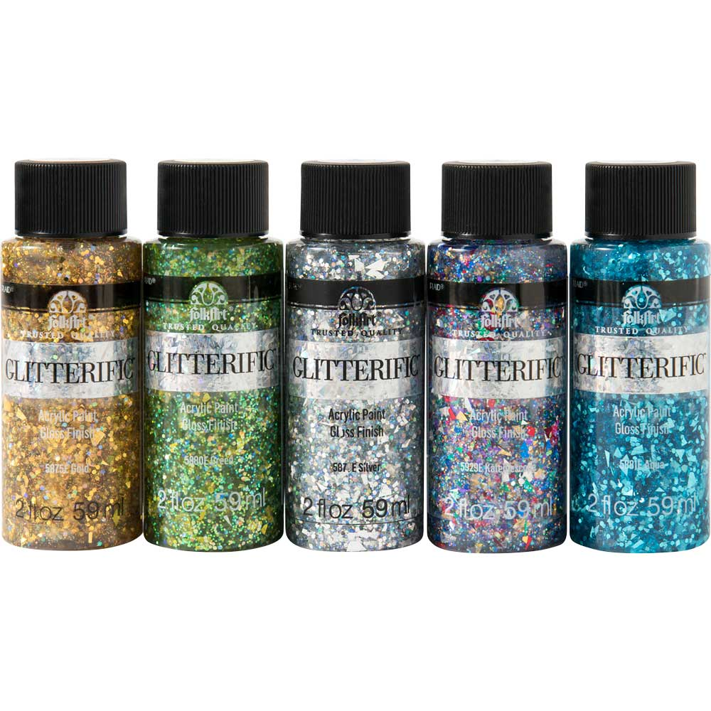 PromoFAGL02 FolkArt Glitterific Enchanted Unicorn 5pc 2 oz Paint Set