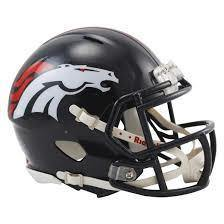 Mini casque de football réplique Denver Broncos.