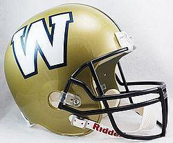 Mini casque de football réplique Winipeg Blue Bombers.