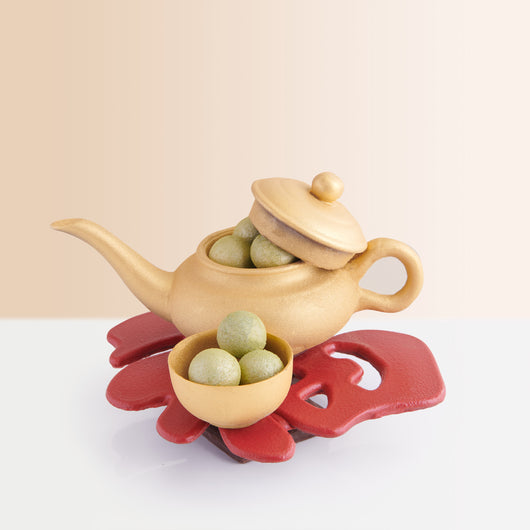 Golden Chocolate Tea Pot with Jasmine Truffles <br>朱古力茶壺配茉莉花茶軟心朱古力 - The Mandarin Cake Shop