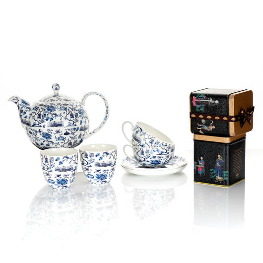 Faux Tea Set with Two Tea Tins from The Mandarin Cake Shop