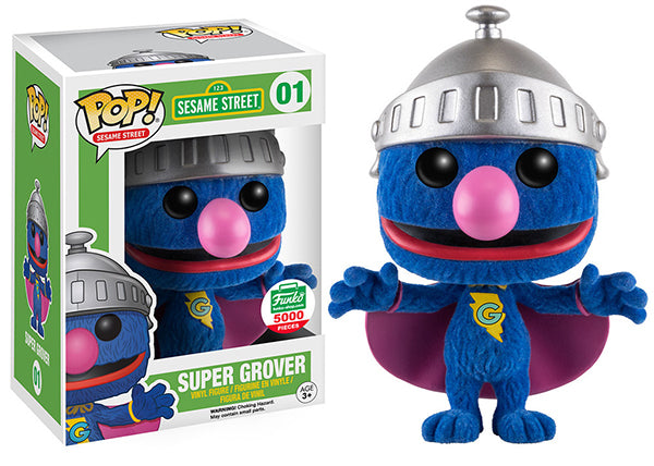 Super Grover (Flocked, Sesame Street) 01 - Funko Shop Exclusive /5000 made Pop Head