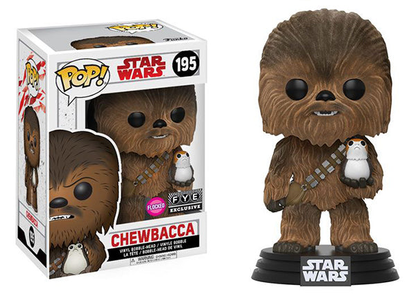 Chewbacca (Flocked, w/Porg, The Last Jedi) 195 - Fye Exclusive