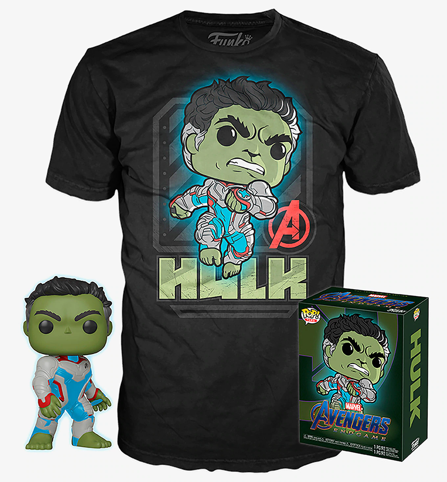Hulk (Quantum Realm Suit, Glow in the Dark) and Hulk Tee (XS, Sealed) 451 - HotTopic Exclusive