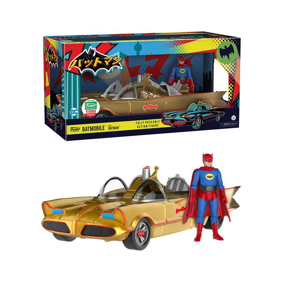 Batman w/Gold Batmobile & Action Figure (Blue/Red) - Funko Shop Exclusive /1500 made  [Condition: 7.5/10]