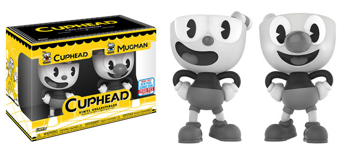 Funko Vinyl Cuphead & Mugman (Black & White) 2-pack - 2017 Fall Convention Exclusive /2500 made  [Damaged: 7/10]