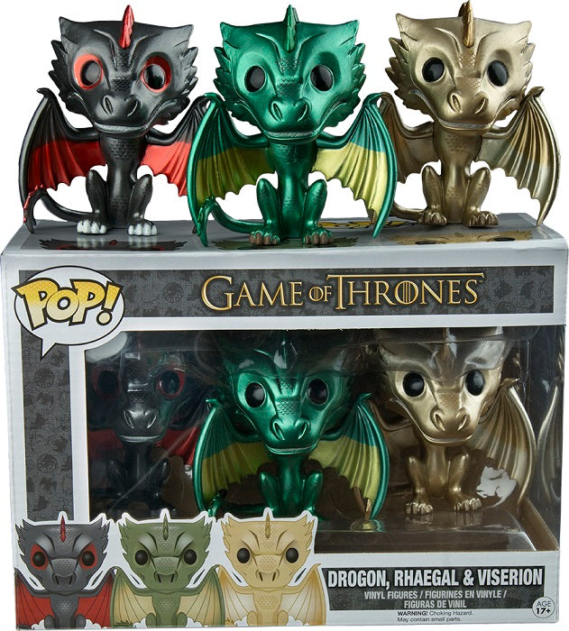 Drogon, Rhaegal & Viserion (Metallic, Game of Thrones) 3-pk   [Condition: 6/10]