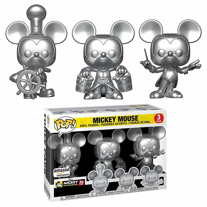 Mickey Mouse (Steamboat Willie, Apprentice, Conductor, Silver) 3-pk - Amazon Exclusive  [Damaged: 7.5/10]
