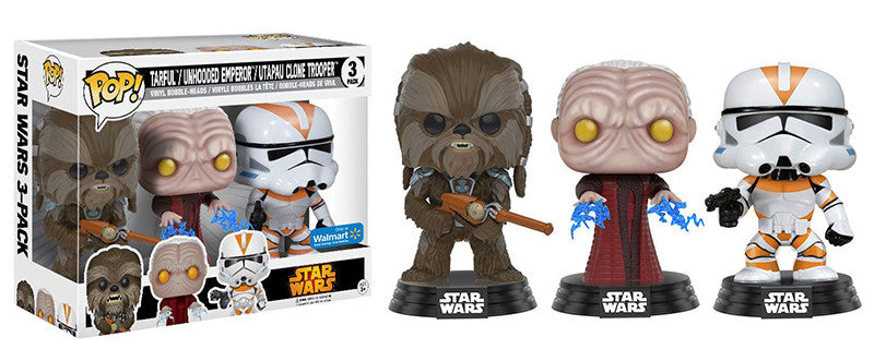 Tarfful/Unhooded Emperor/Utapau Clone Trooper 3-Pack - Walmart Exclusive Pop Head