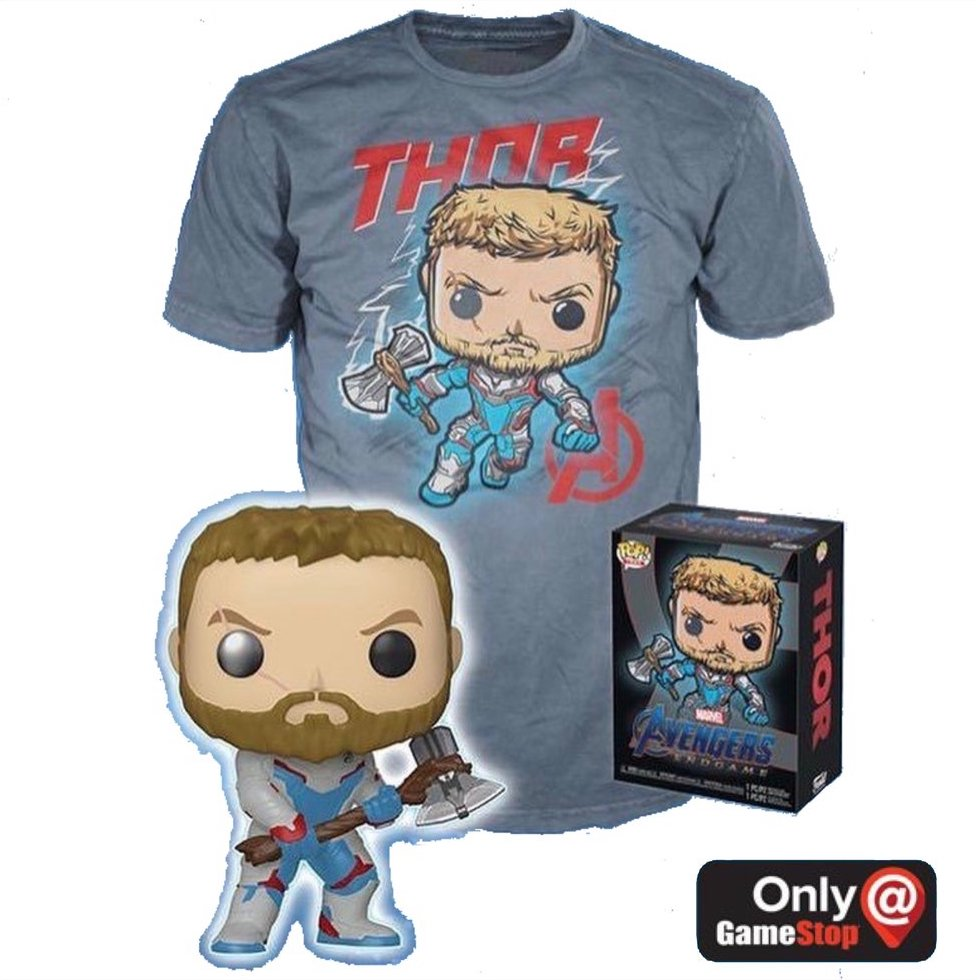 Thor (Quantum Realm Suit, Glow in the Dark) and Thor Tee (M, Sealed) 452 - GameStop Exclusive