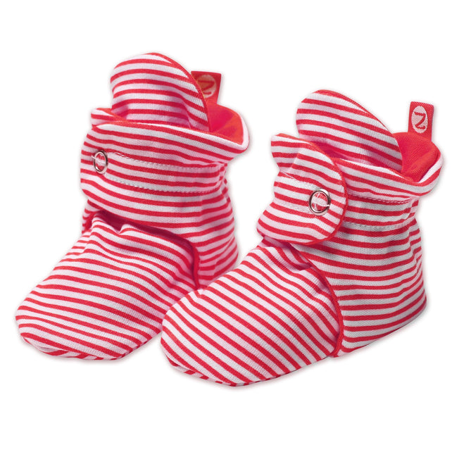 Zutano baby Bootie Candy Stripe Cotton Baby Bootie - Red