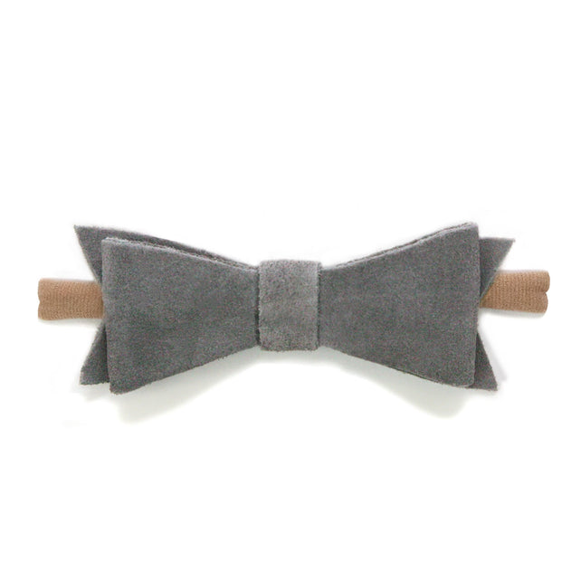 Zutano baby Bow Large Suede Baby Hair Bow - Gray