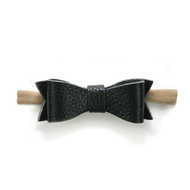 Zutano baby Bow Small Leather Baby Hair Bow - Black