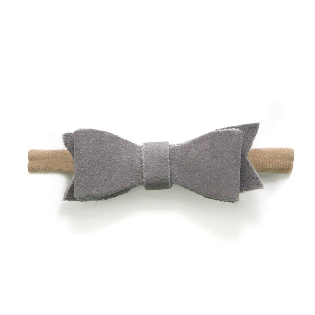 Zutano baby Bow Small Suede Baby Hair Bow - Gray