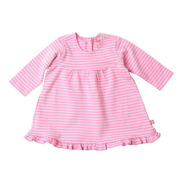 Zutano baby Dress Pink Stripe L/S Ruffle Little Dress