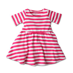 Zutano baby Dress Stripe Baby Forever Dress - Fuchsia