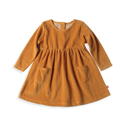 Zutano baby Dress Velour Double Pocket Dress - Caramel