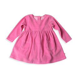 Zutano baby Dress Velour Double Pocket Dress - Hot Pink
