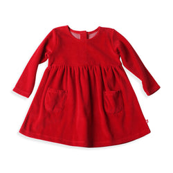 Zutano baby Dress Velour Double Pocket Dress - Red