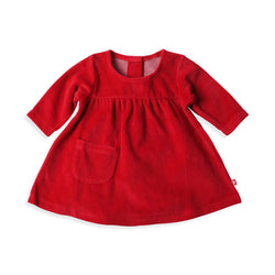 Zutano baby Dress Velour Little Pocket Dress - Red