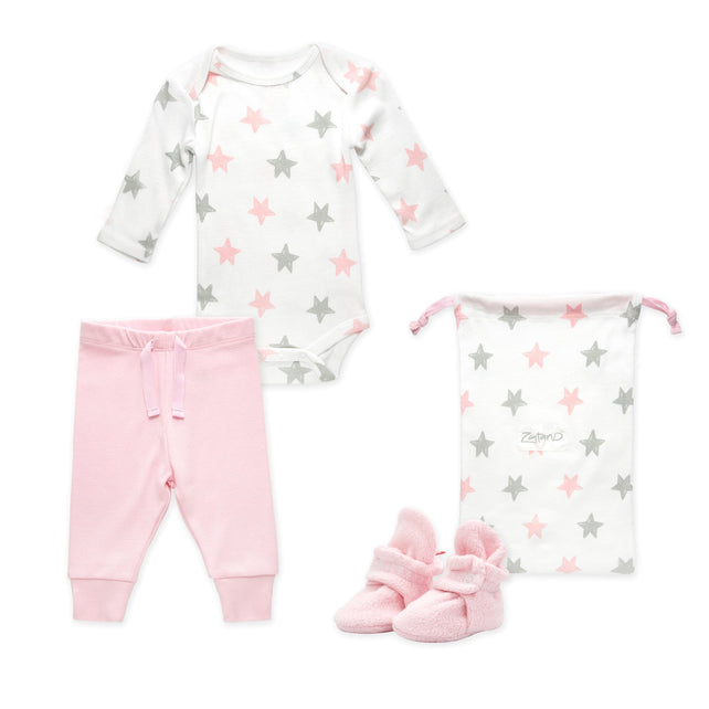 Zutano baby Gift Set Booties & More 3 Piece Baby Gift Set - Baby Pink