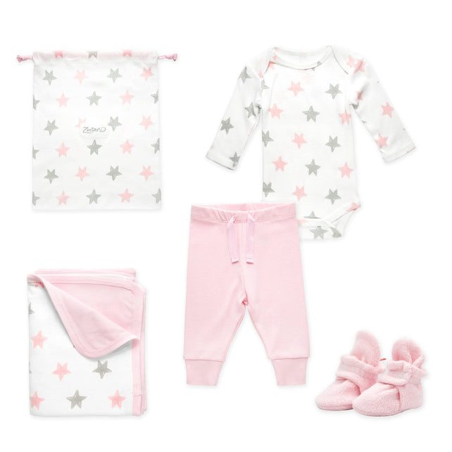 Zutano baby Gift Set Booties & More 4 Piece Baby Gift Set - Baby Pink