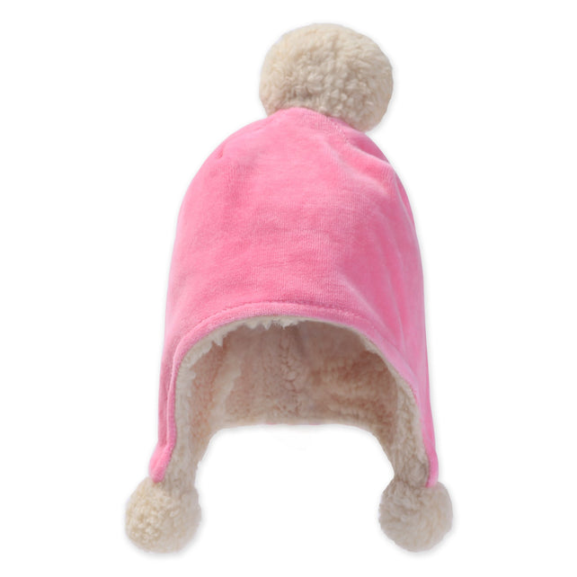 Zutano baby Hat Velour Pom Pom Hat - Hot Pink