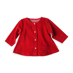 Zutano baby Jacket/Hoodie Velour Swing Jacket - Red