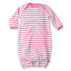 Zutano baby One Piece Breton Stripe Receiving Gown - Hot Pink
