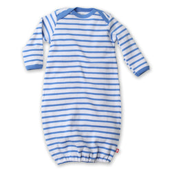 Zutano baby One Piece Breton Stripe Receiving Gown - Periwinkle