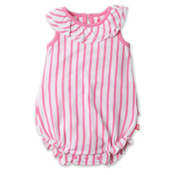 Zutano baby One Piece Breton Stripe Ruffle Bubble - Hot Pink