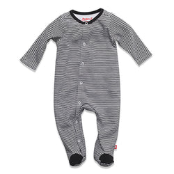 Zutano baby One Piece Candy Stripe Footie - Black