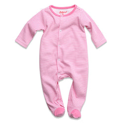 Zutano baby One Piece Candy Stripe Footie - Hot Pink
