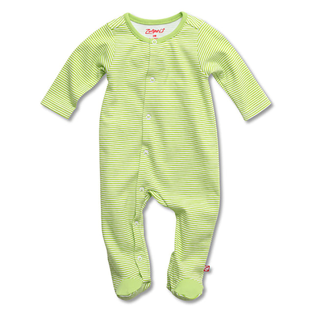 Zutano baby One Piece Candy Stripe Footie - Lime