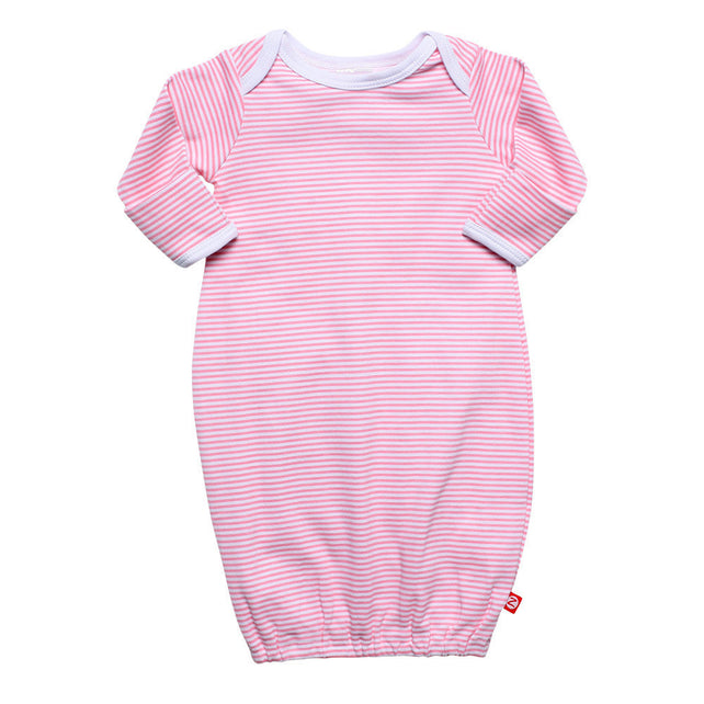 Zutano baby One Piece Candy Stripe Receiving Gown - Hot Pink