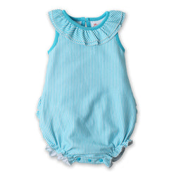Zutano baby One Piece Candy Stripe Ruffle Bubble - Pool