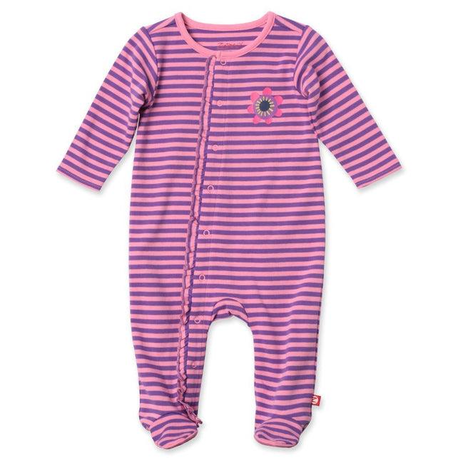 Zutano baby One Piece Duo Stripe Ruffle Footie