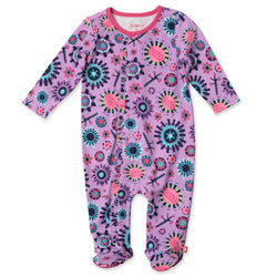 Zutano baby One Piece Geo Flower Ruffle Footie