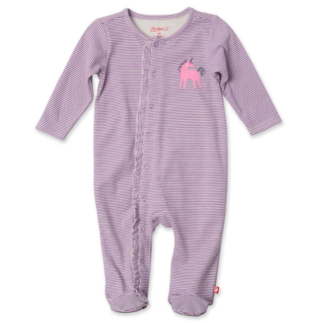 Zutano baby One Piece Mini Stripe Ruffle Footie