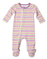 Zutano baby One Piece Multi Stripe Baby Ruffle Footie