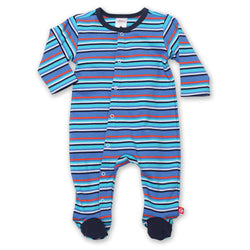 Zutano baby One Piece Multi Stripe Footie - Periwinkle