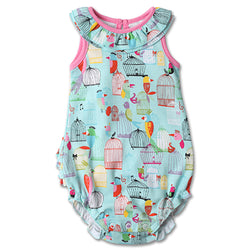 Zutano baby One Piece Paradise Bird Baby Ruffle Bubble