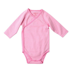 Zutano baby One Piece Pink Stripe L/S Body Wrap