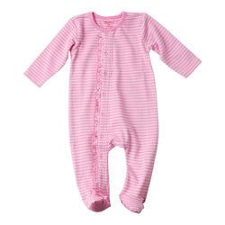 Zutano baby One Piece Pink Stripe Ruffle Footie