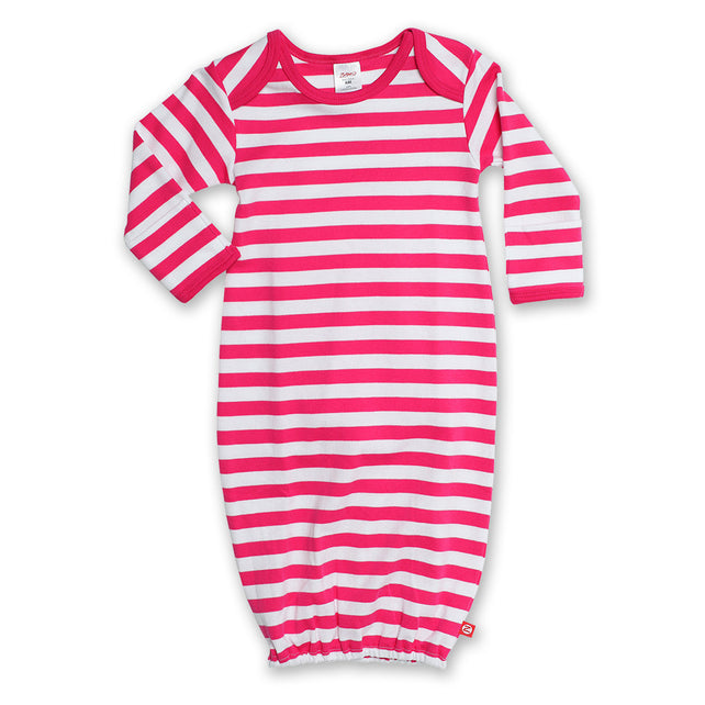 Zutano baby One Piece Stripe Receiving Gown - Fuchsia