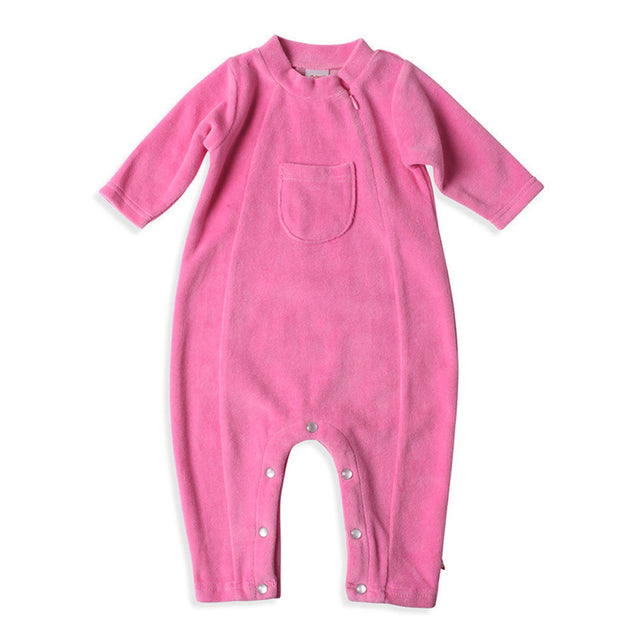 Zutano baby One Piece Velour Coveralls - Hot Pink