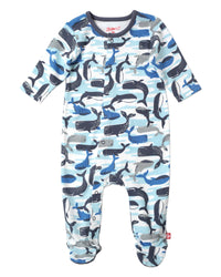Zutano baby One piece Whales Footie