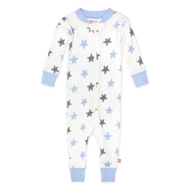 Zutano baby Pajama Stars Organic Cotton Sleeper - Light Blue