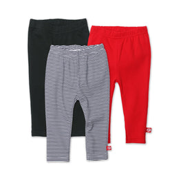 Zutano baby Set Black/Red Solid & Stripe Legging 3-Pack